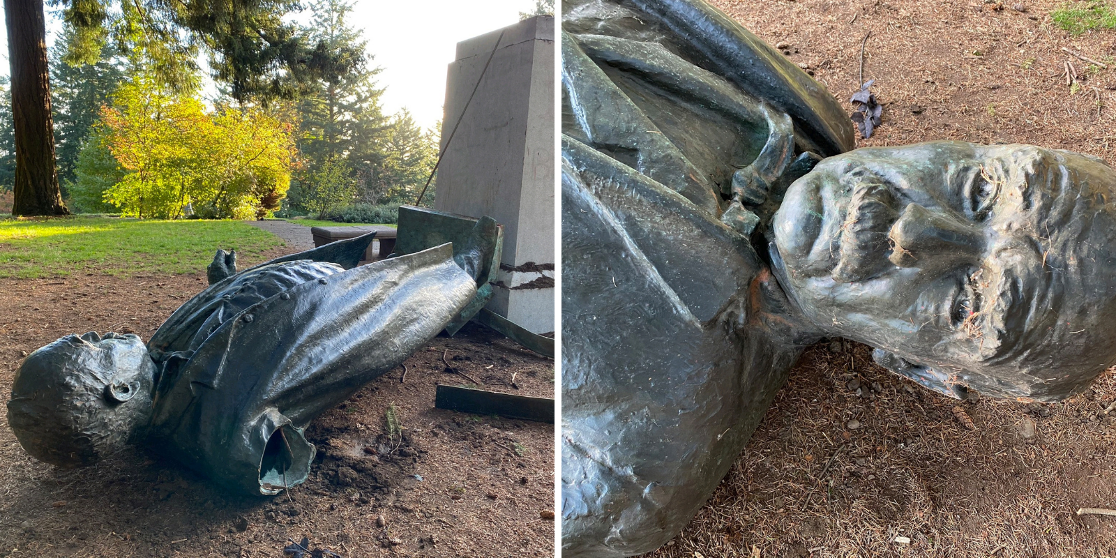 BREAKING: Antifa rioters topple statue of famed newspaper editor in Portland