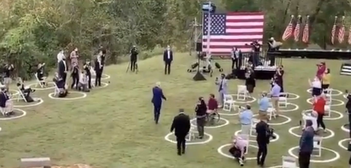 WATCH: Biden holds his biggest rally yet, speaking to TENS of people