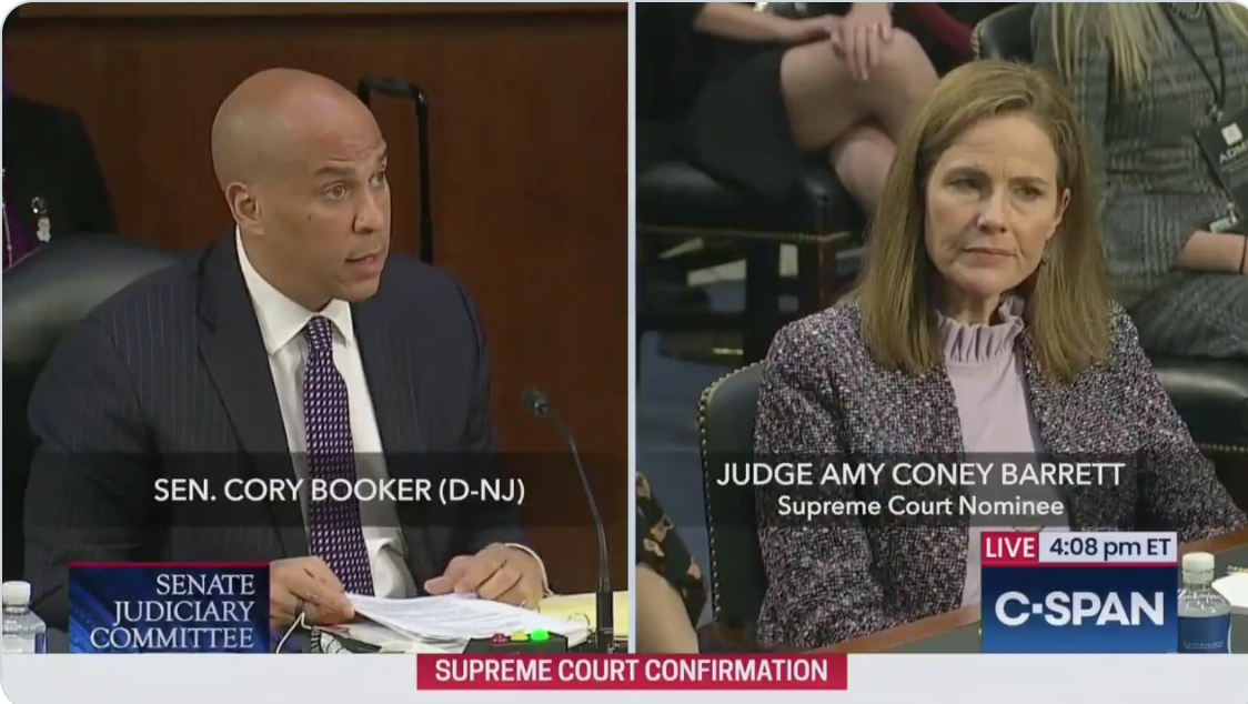 Booker reveals absurdity of nomination hearings as he hammers ACB over racism