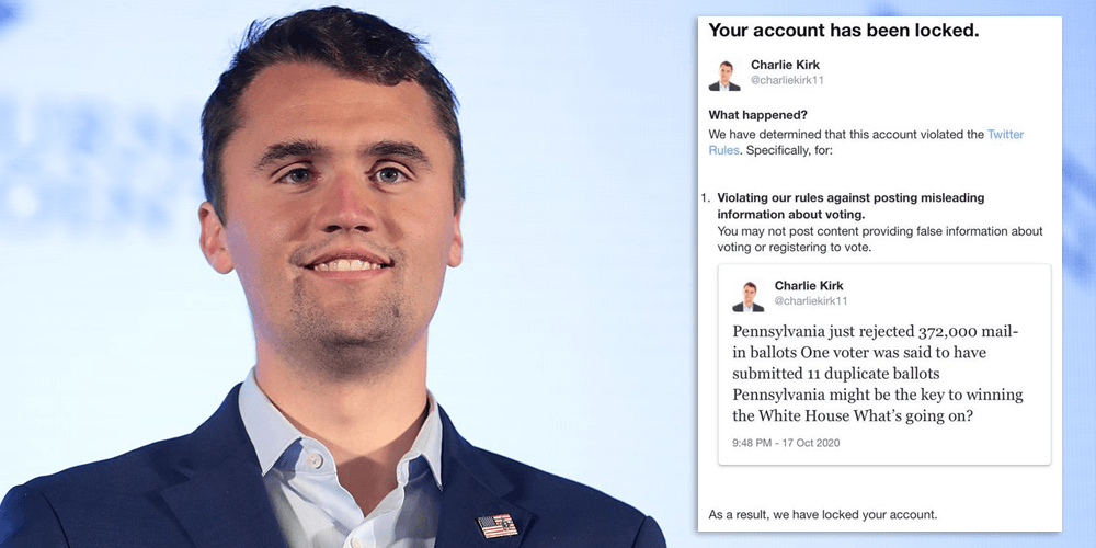 Charlie Kirk locked out from Twitter for asking question about mail-in voting fraud