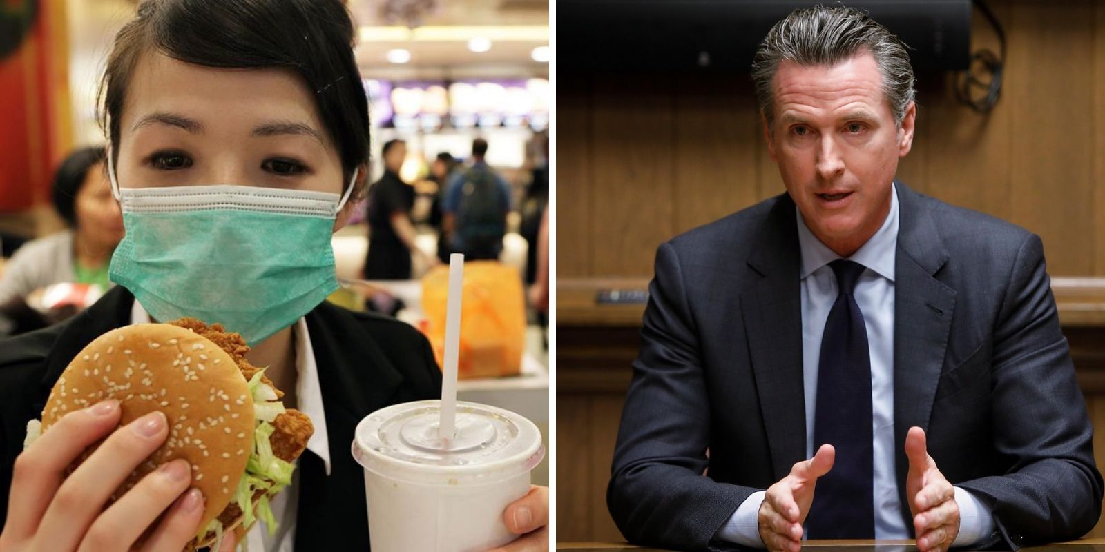 California says to put your mask on between bites—and to minimize taking off your mask while dining