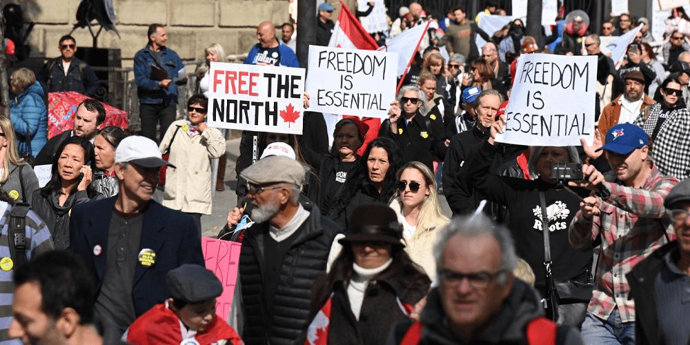 Torontonians demand freedom from COVID-19 restrictions in second 'March for Freedom'