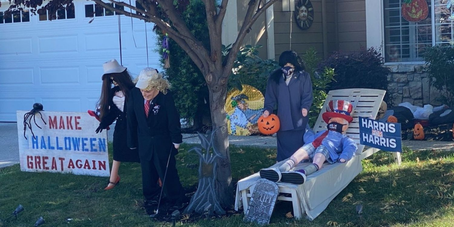 Disturbing Halloween display depicts Trump and First Lady hanging from a tree