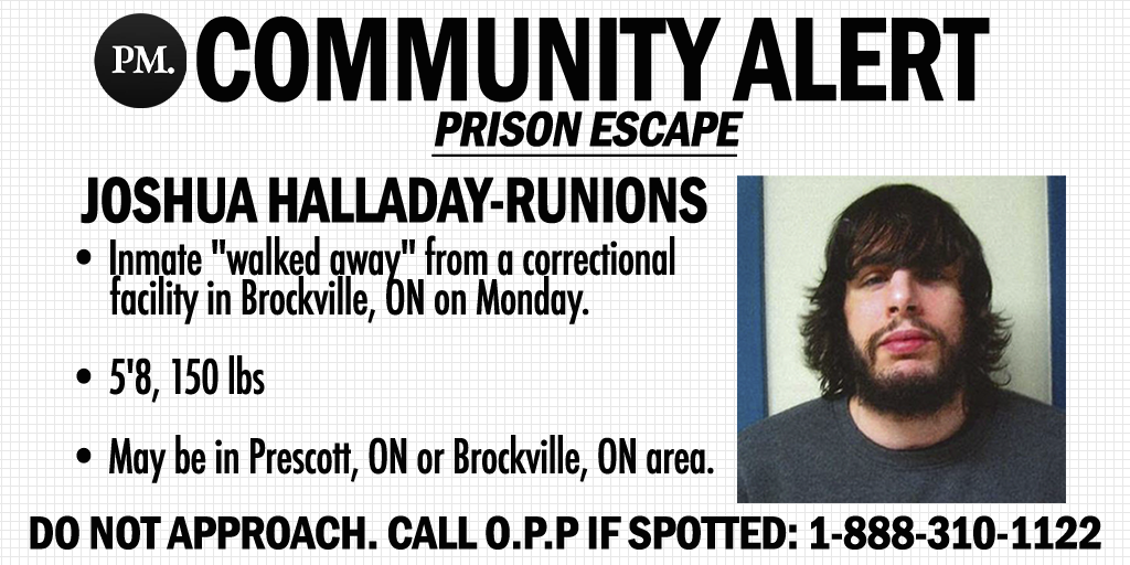 'Do not approach' police warn for Brockville correctional facility escapee