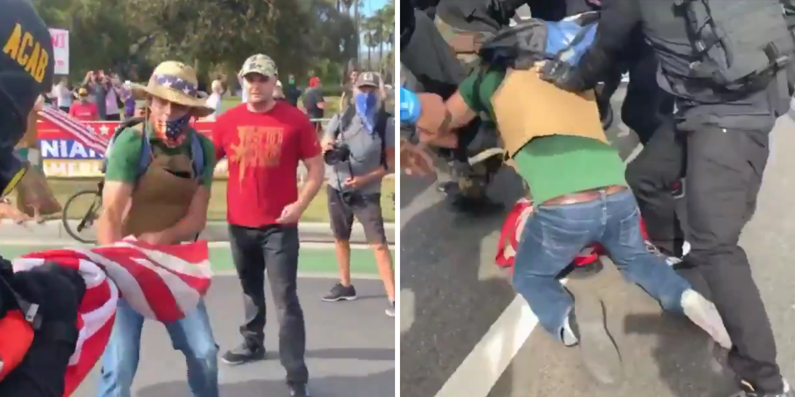 Antifa assault Trump supporter in Beverly Hills during 'MAGA-ween' rally