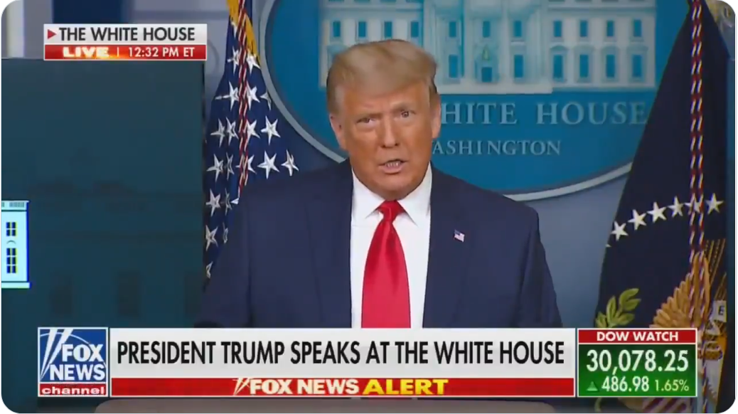 WATCH: Trump crashes press conference to celebrate DOW going over 30,000