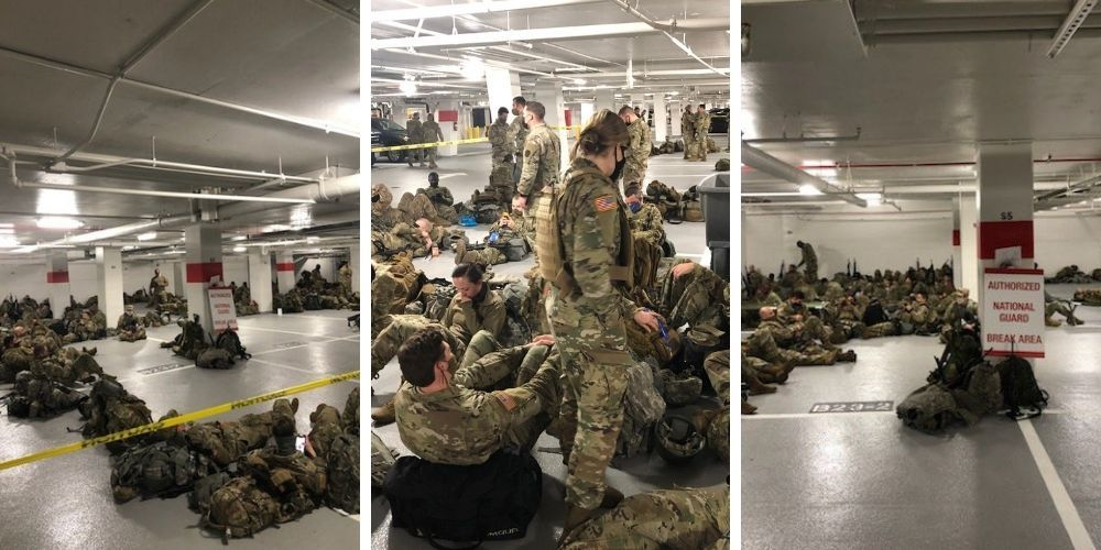 Following Biden inauguration, National Guard troops forced to sleep in parking garages