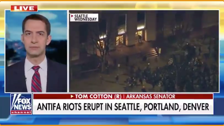 WATCH: Sen. Tom Cotton calls for force to be used against Antifa rioters on the west coast who 'hate America'