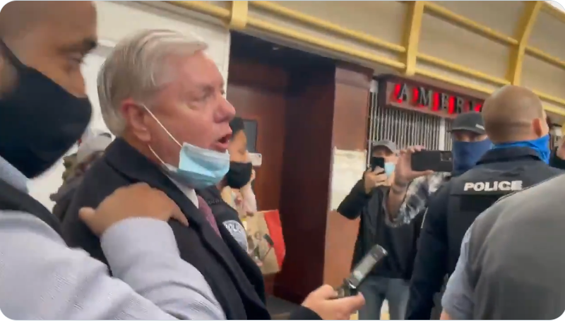 BREAKING: Sen. Lindsey Graham MOBBED at DC airport by people calling him a traitor