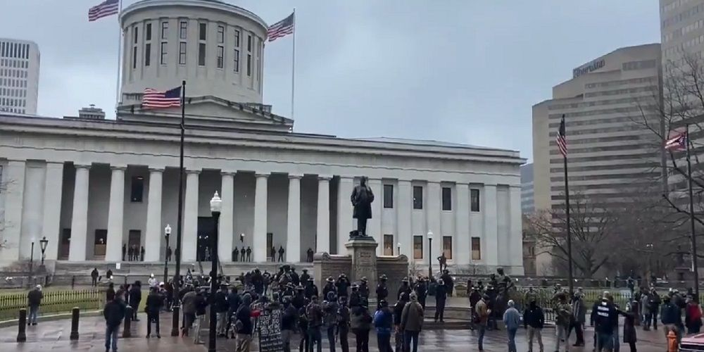 Armed protesters gather outside Ohio statehouse