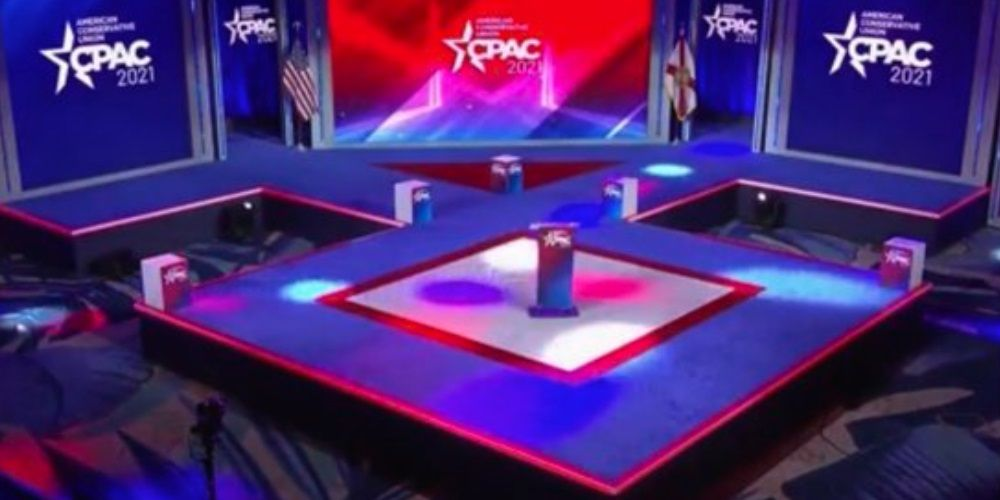 Leftist conspiracy theorists claim CPAC stage layout is secret Nazi code