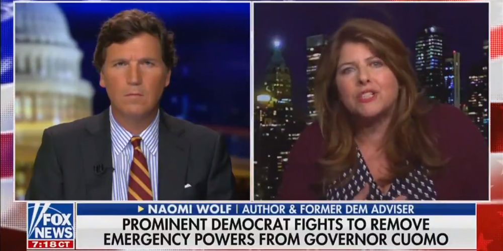 WATCH: Naomi Wolf tells Tucker Carlson that politicians are clinging to their lockdown powers
