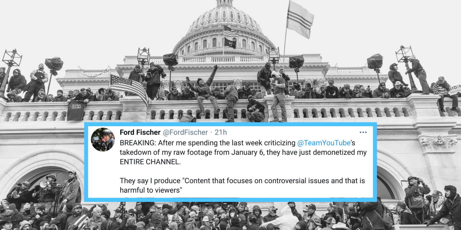 YouTube removes raw footage of Capitol riot by independent journalist, demonetizes channel