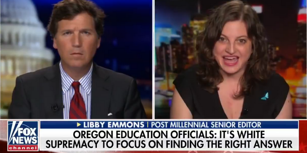 WATCH: Libby Emmons tries to explain the insane concept of 'racist math' to Tucker Carlson