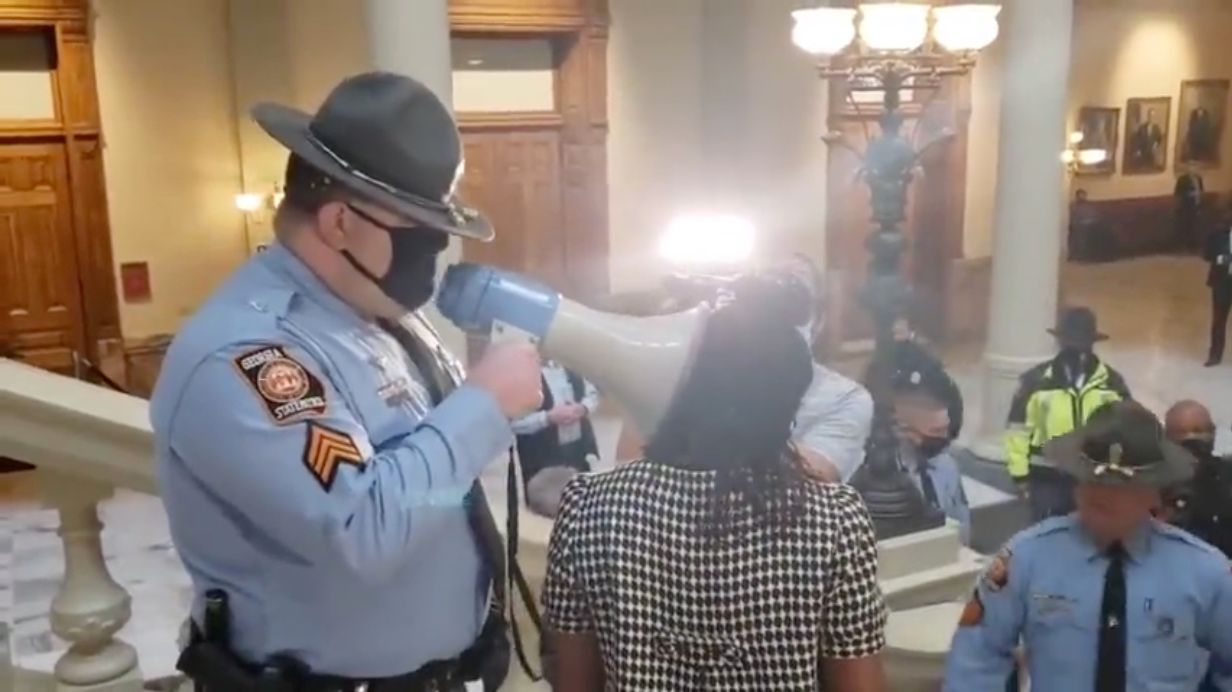 WATCH: Leftist protestors 'storm' Georgia state capitol to protest voter ID laws
