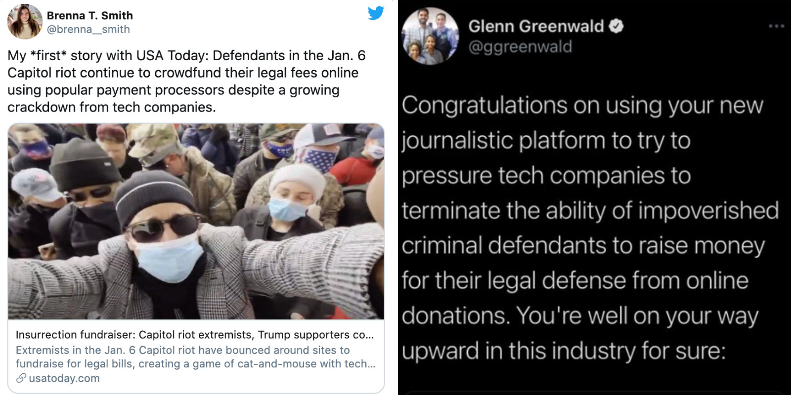 Liberal journalists cry 'harassment' after Glenn Greenwald and Jack Posobiec criticize USA Today article advocating for censorship