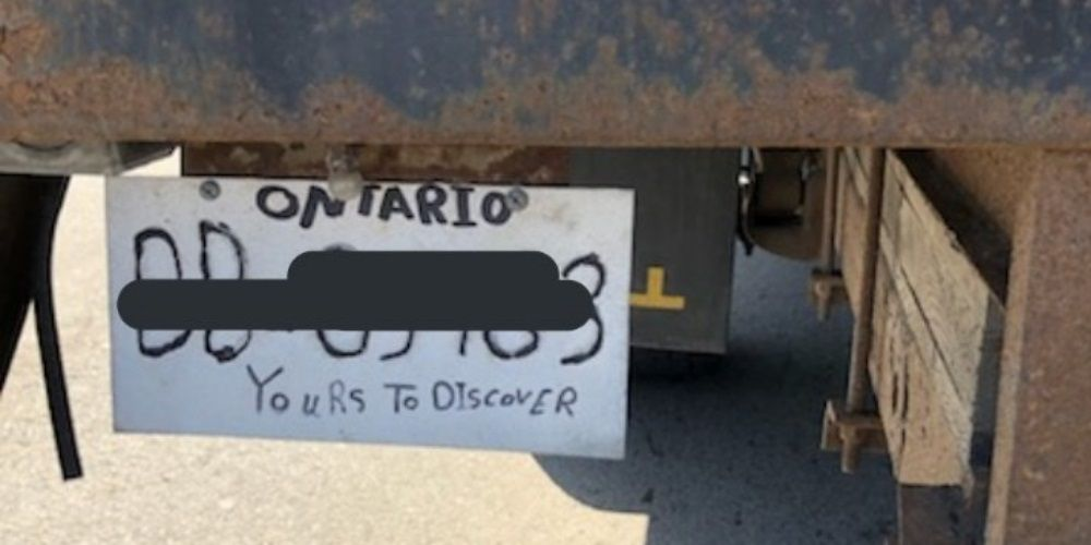 Ontario truck driver caught with ridiculously fake license plate