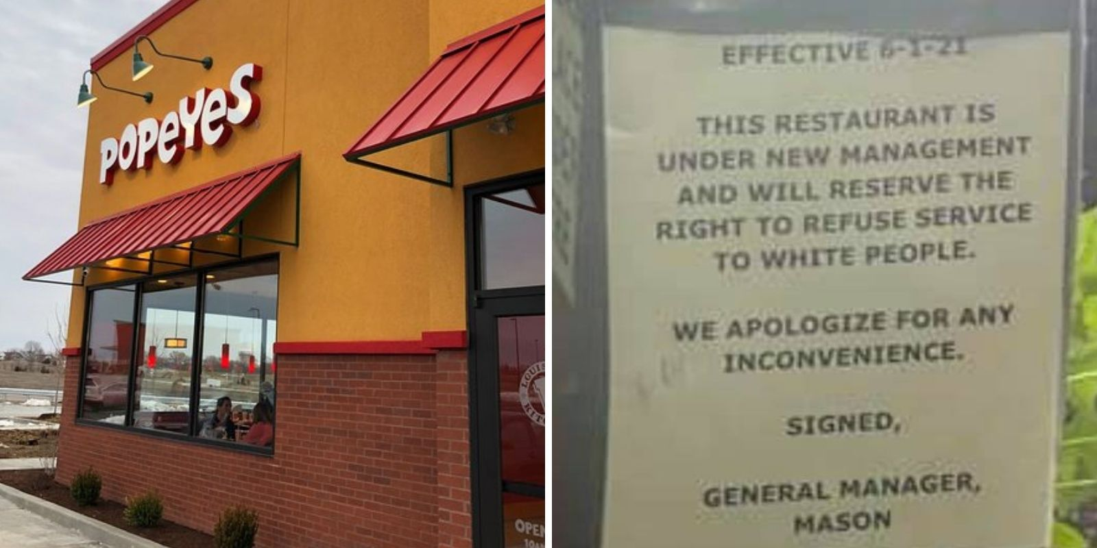 Sign at Popeyes drive-thru under criminal investigation: 'Will reserve the right to refuse service to white people'