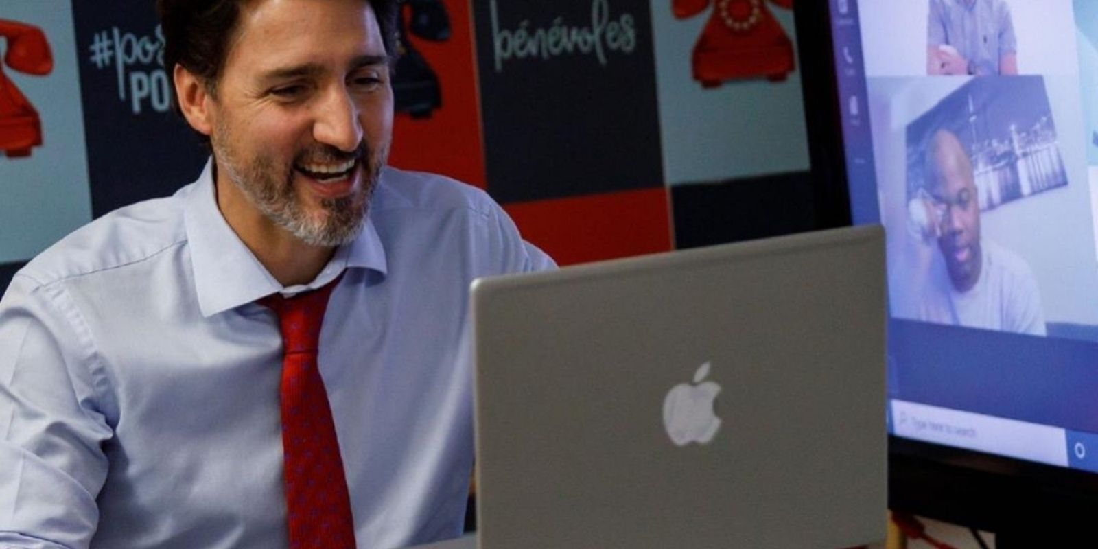 PHONY: Trudeau seen using HP laptop with Apple sticker covering logo