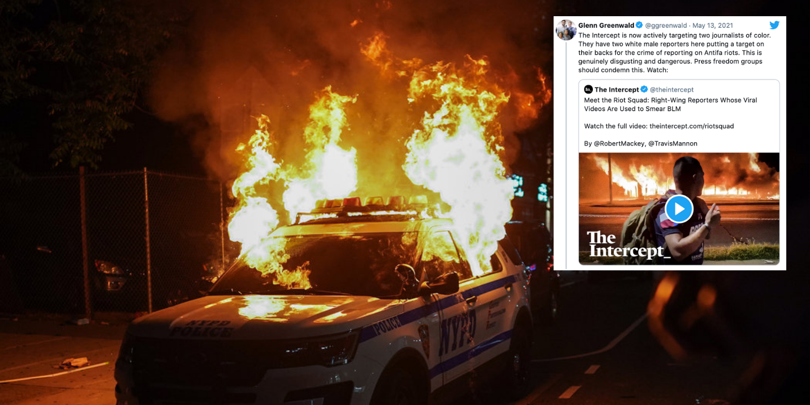 Former news outlet The Intercept smears actual journalists for covering BLM-Antifa violence