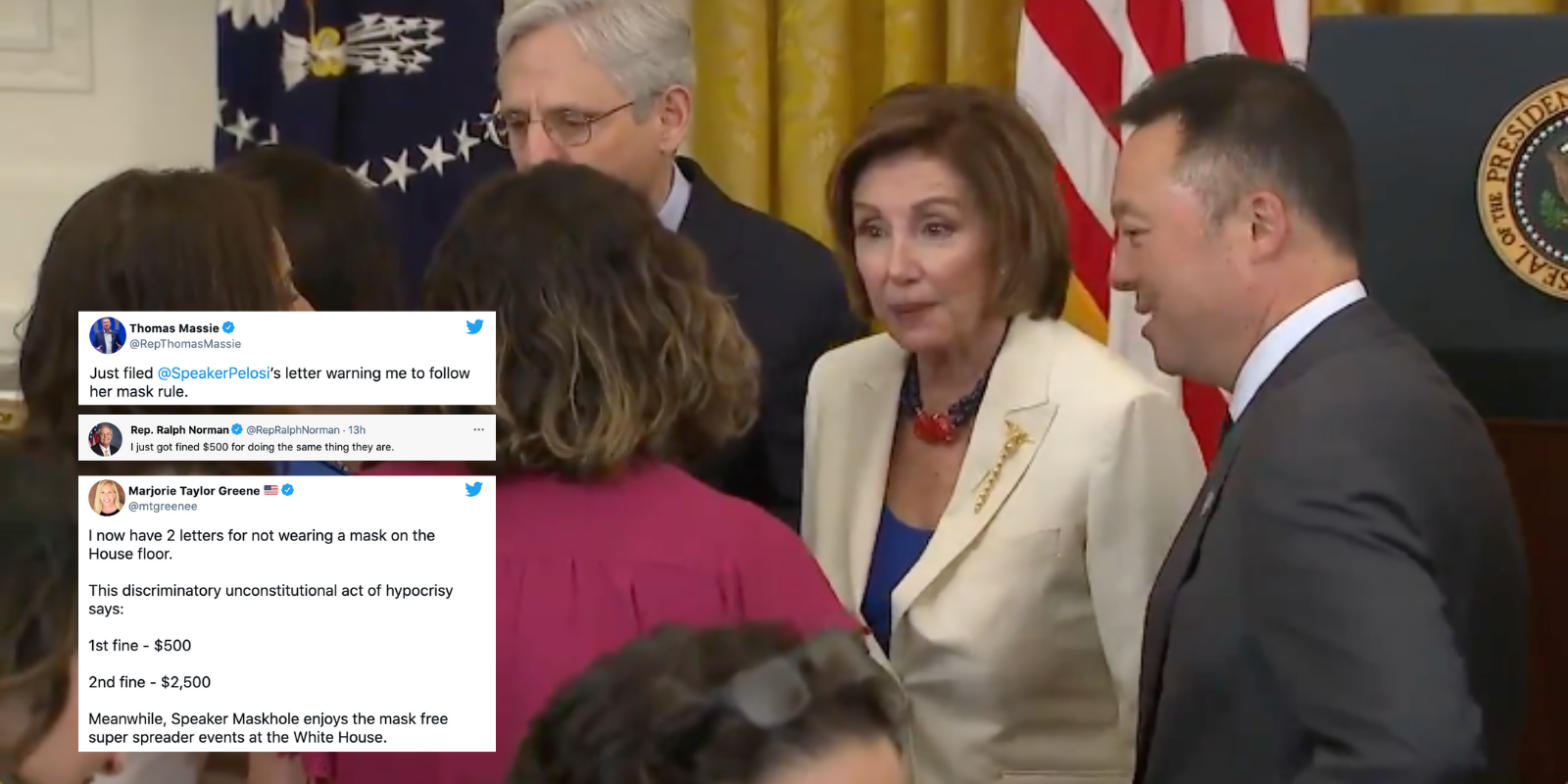 WATCH: House Speaker Pelosi schmoozes while unmasked with Democrats after fining GOP lawmakers for not masking