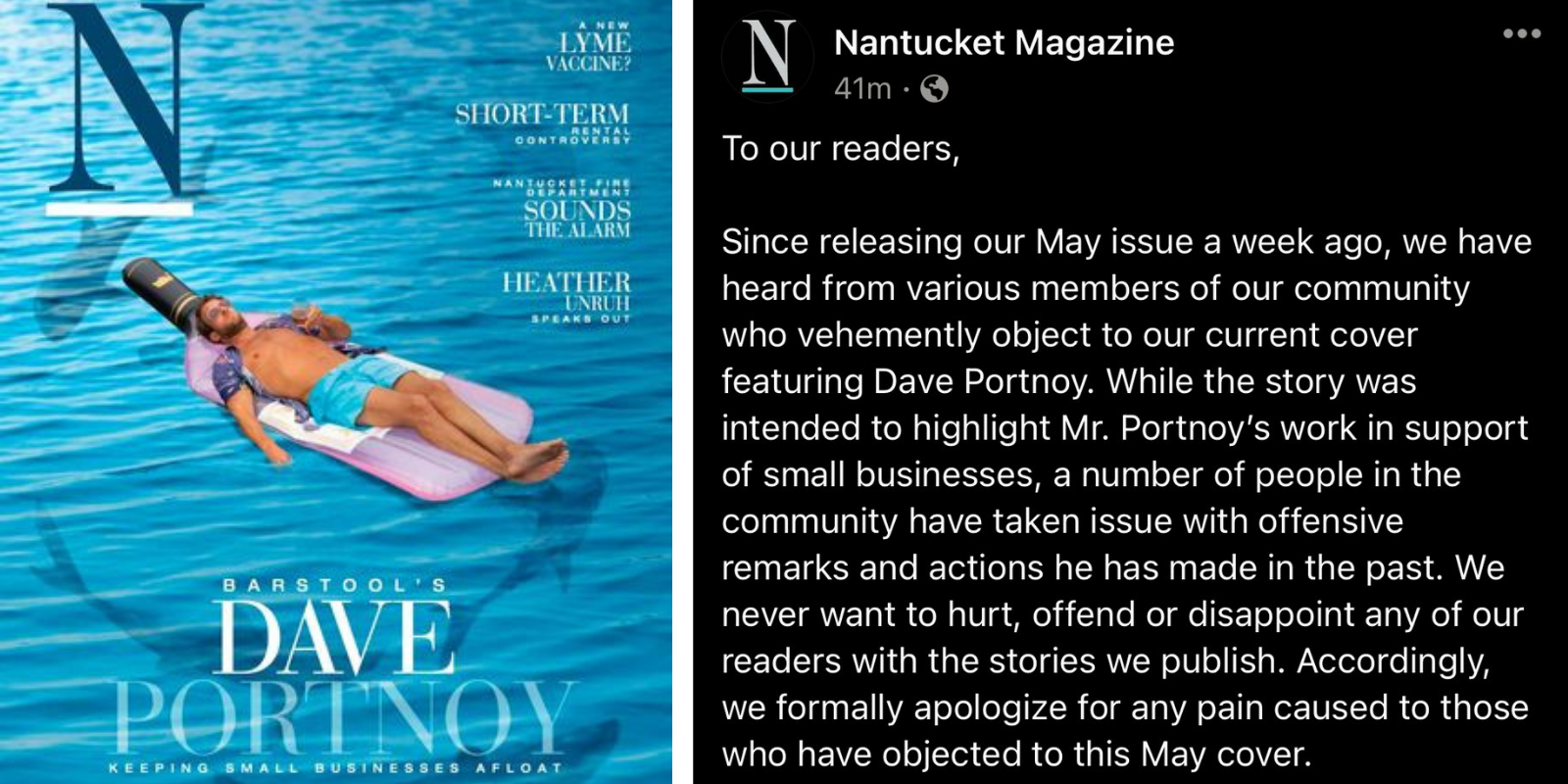 Nantucket Magazine issues pathetic, grovelling apology to readers triggered by Dave Portnoy cover