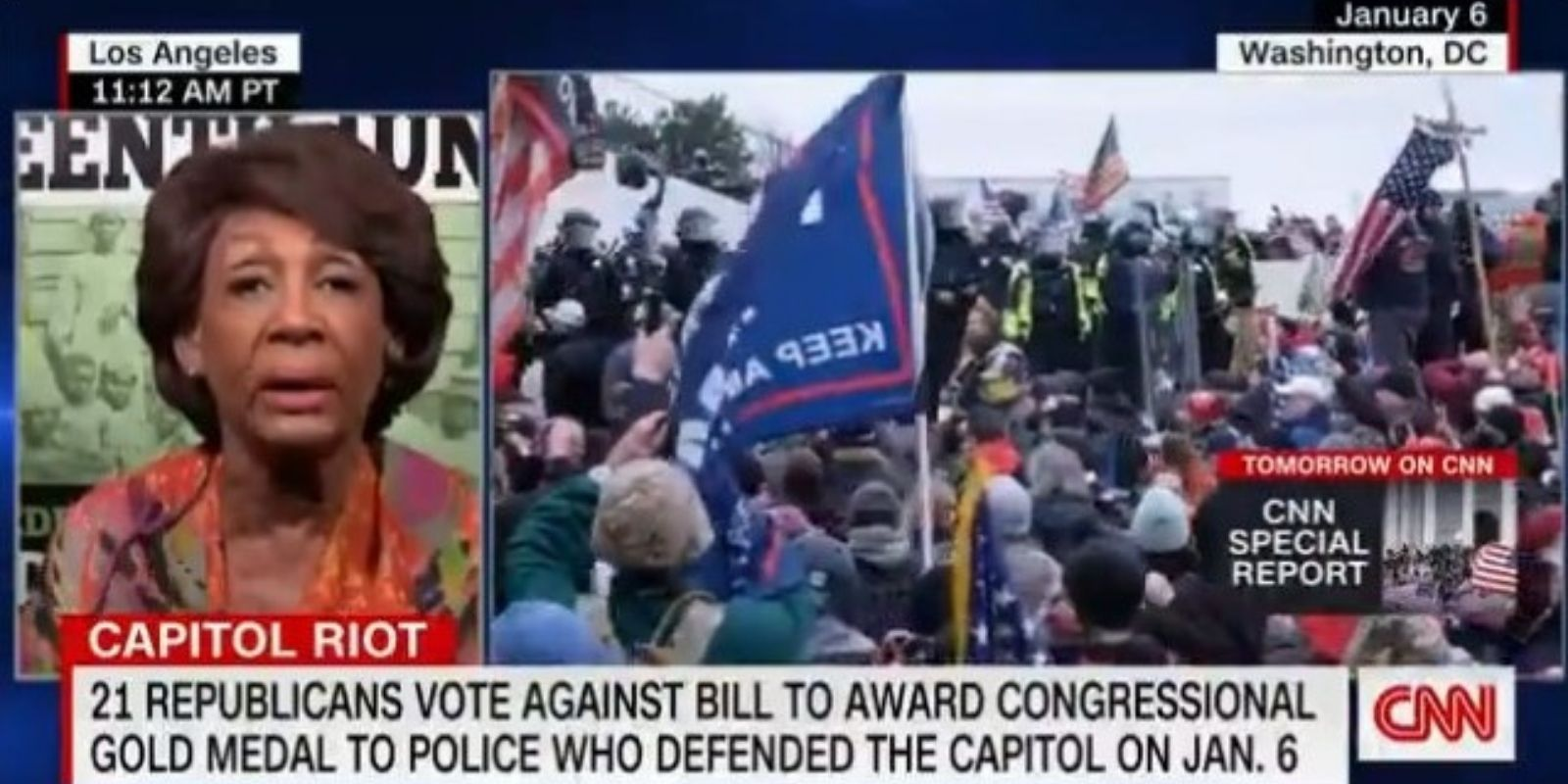 Maxine Waters claims without evidence that the Jan 6 Capitol riot was 'organized' by the Trump campaign