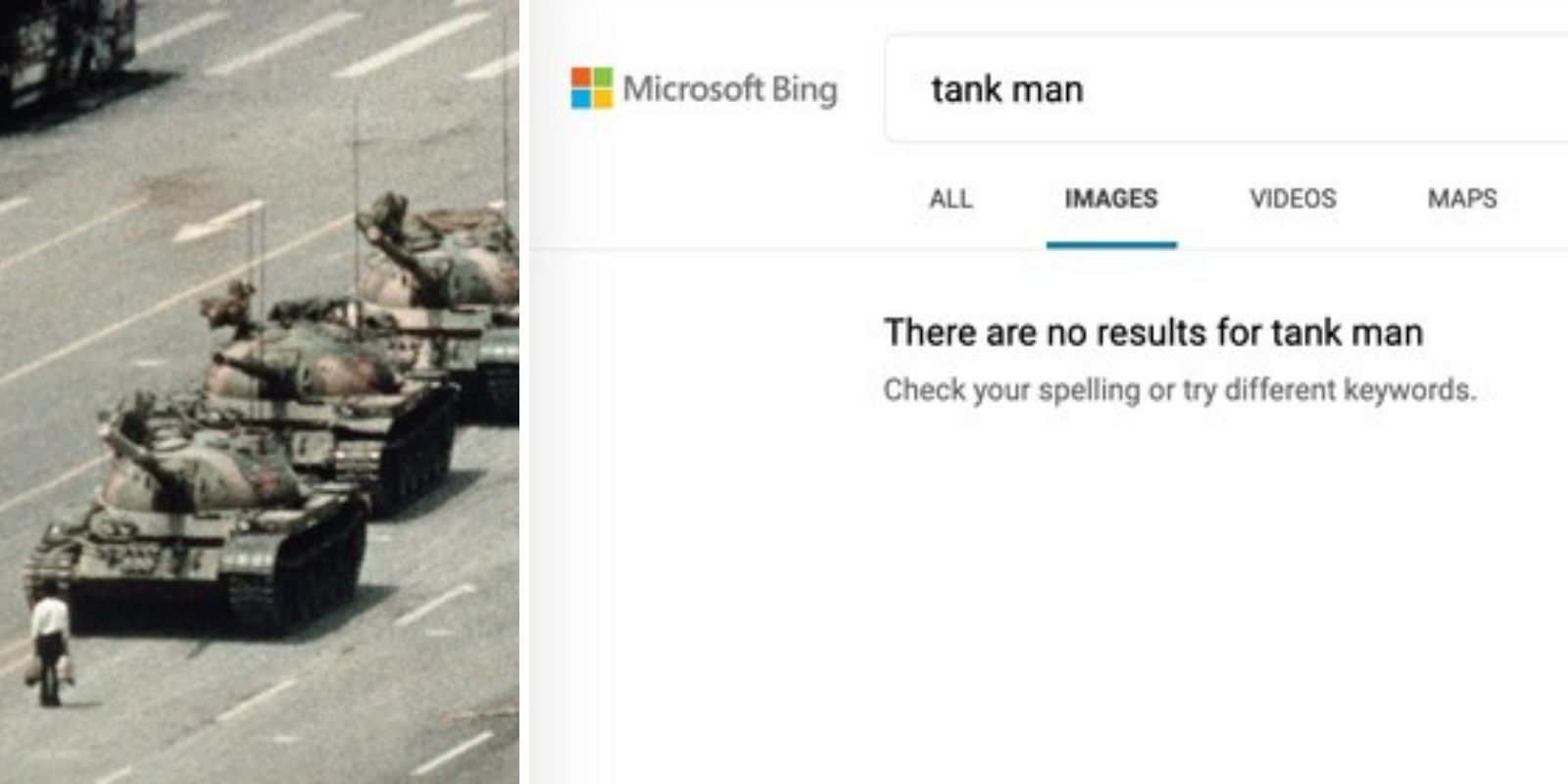 Microsoft censors image search results for Tiananmen Square 'tank man'