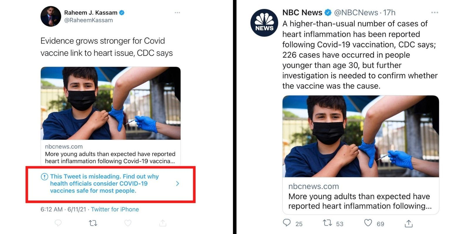 Twitter flags conservative journalist's tweet of COVID-19 story as 'misleading'—NBC News shares same article and isn't censored