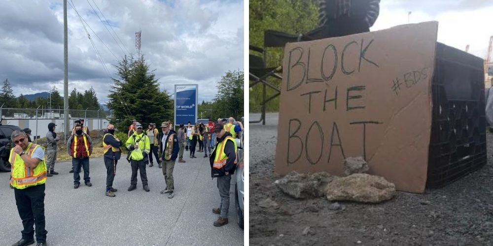 Pro-Palestinian activists block Israeli container ship from docking in Prince Rupert, BC