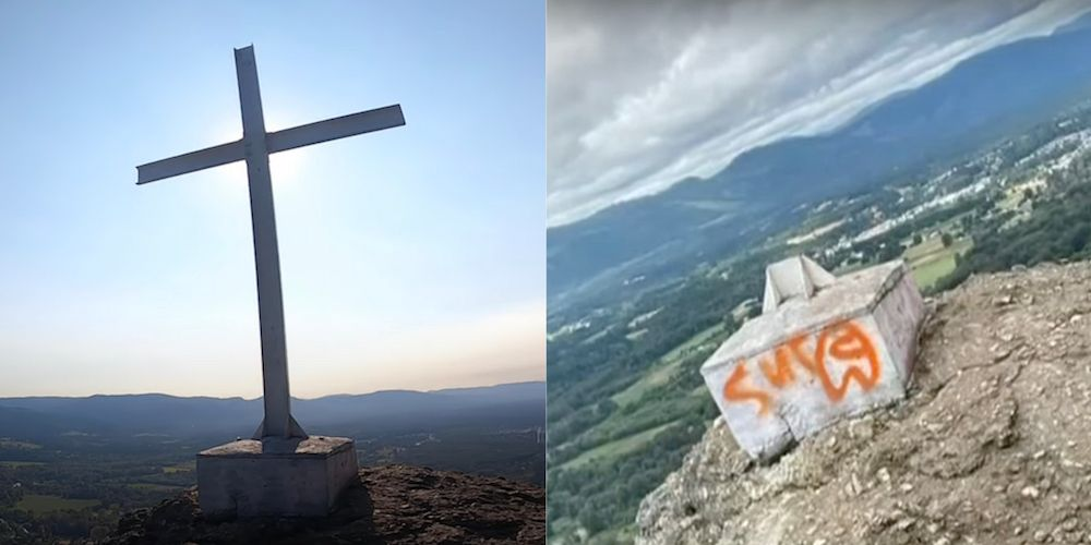 Cross atop Mount Tzouhalem on Vancouver Island mysteriously cut down