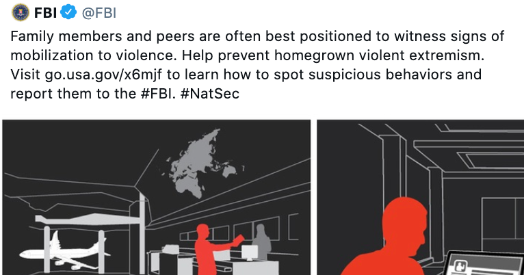 FBI tells Americans to monitor family members for signs of 'extremism' and snitch on them