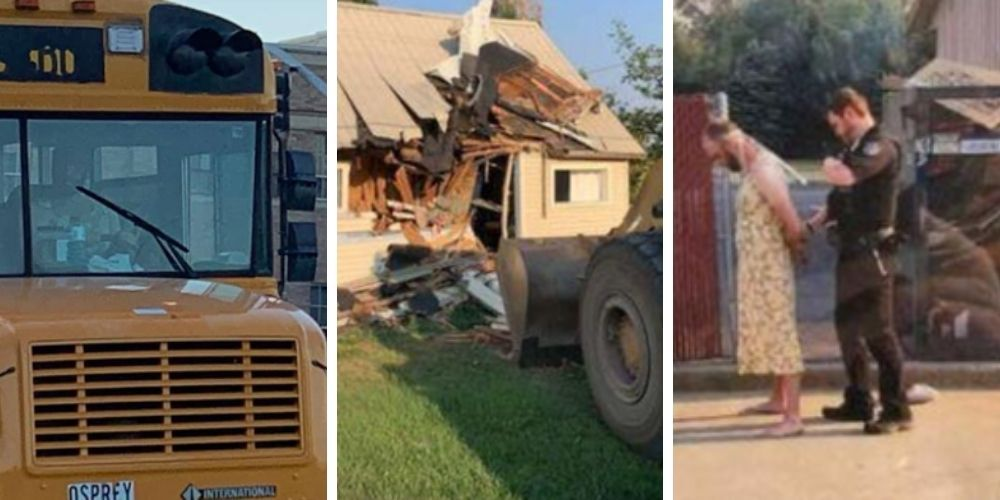 After release from mental hospital, man in yellow sundress steals school bus, then crashes front-end loader into his own home