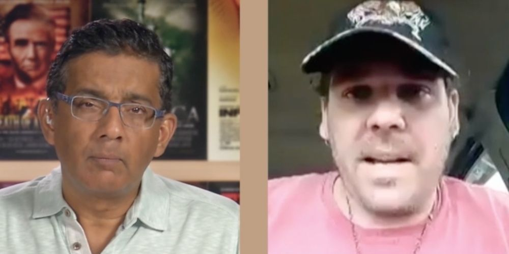 WATCH: Dinesh D'Souza talks to Jan 6 protestor about 'what it's like to be a political prisoner in Biden's America'