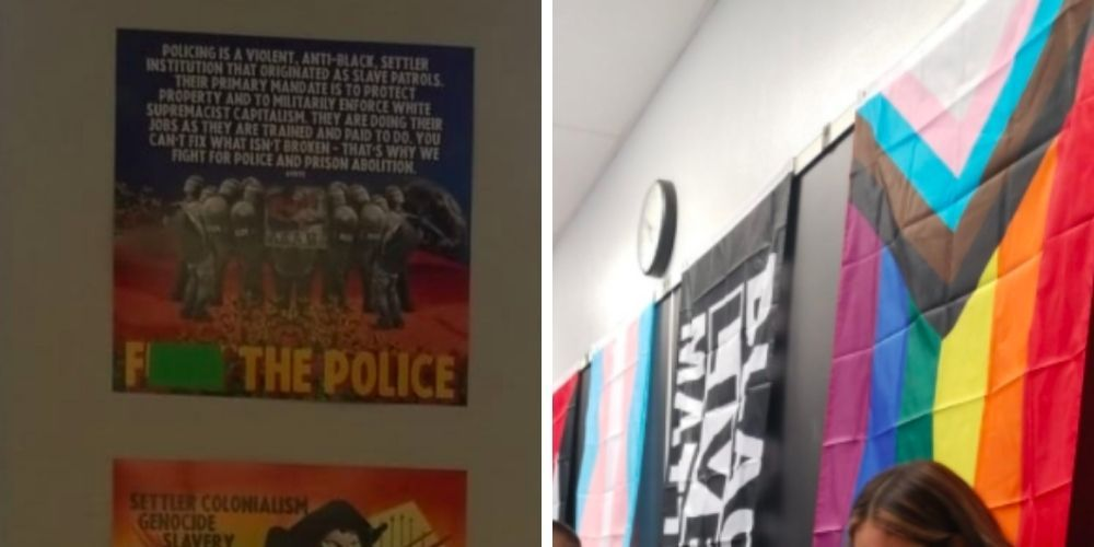 Concerned parents lash out at history teacher's 'F*** the police' poster in LA classroom