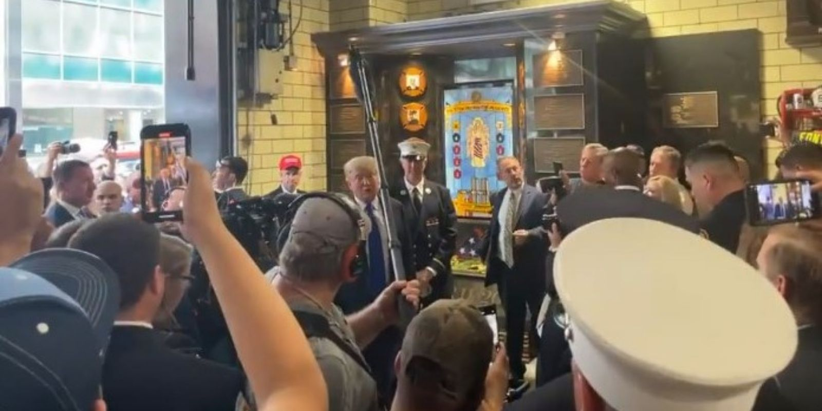 BREAKING: Donald Trump makes surprise visit to NYPD and FDNY on 20th anniversary of 9/11