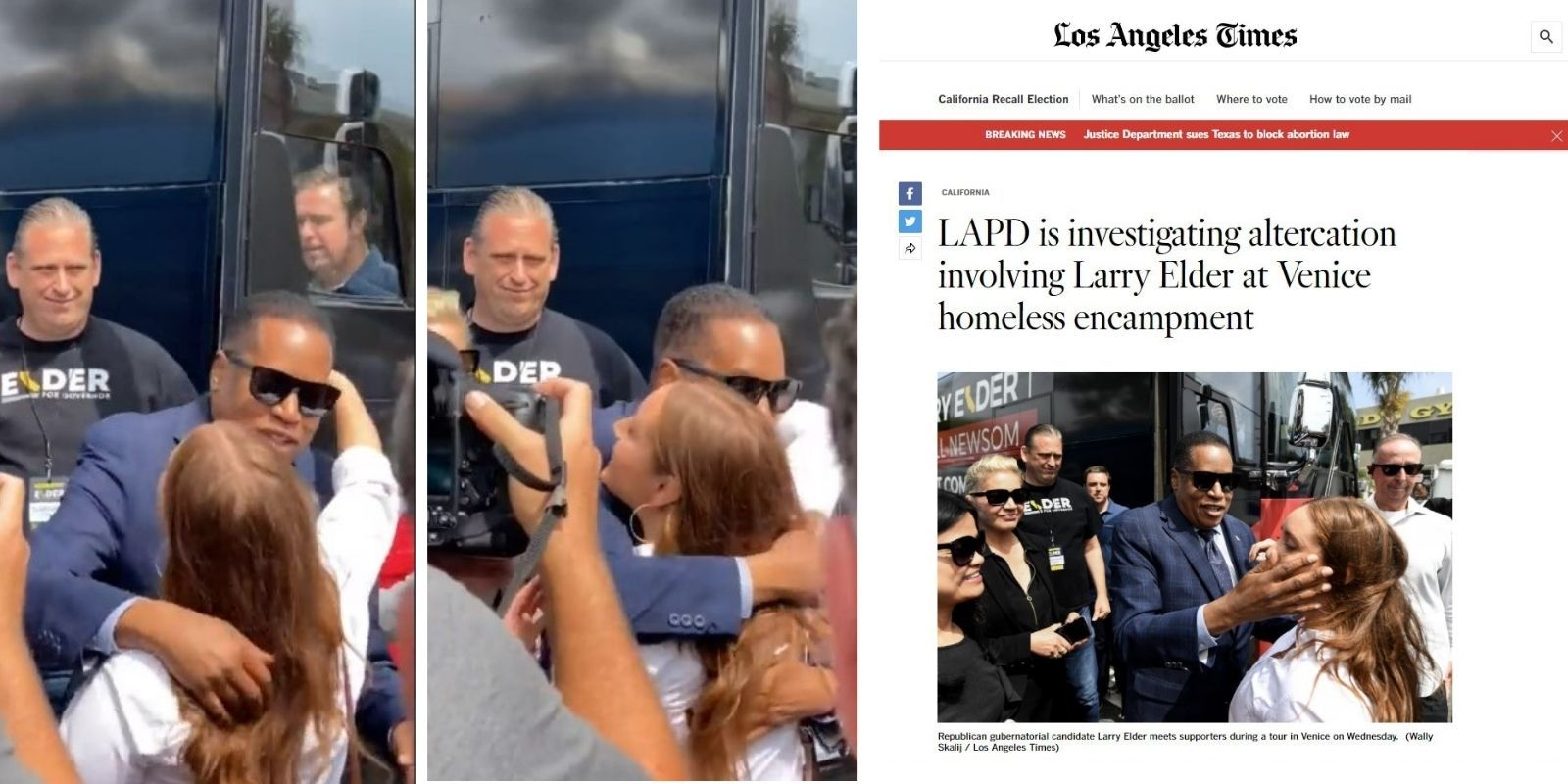 Video of Larry Elder hugging supporter debunks manipulated LA Times photo that suggested he slapped her