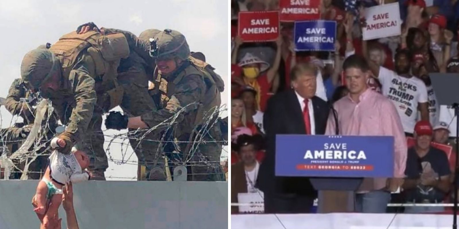 WATCH: Trump invites Marine who rescued baby in Afghanistan on stage at Georgia rally