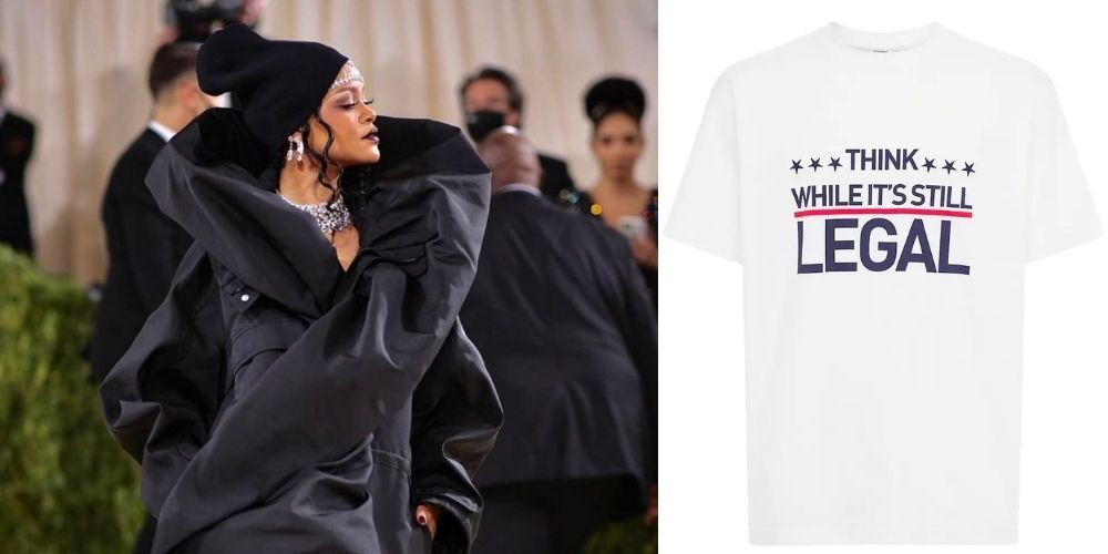 Rihanna makes statement with 'think while it's still legal' t-shirt